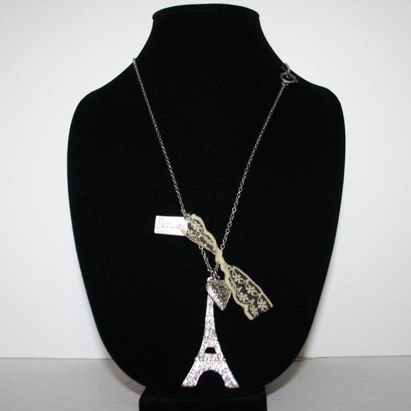 "Silver Eifel Tower necklace 24"""